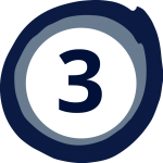 Blue Circle with the number 3 inside