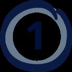 Zahl eins in einem blauen Kreis