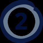 Zahl zwei in einem blauen Kreis