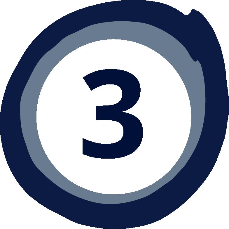 Zahl drei in einem blauen Kreis