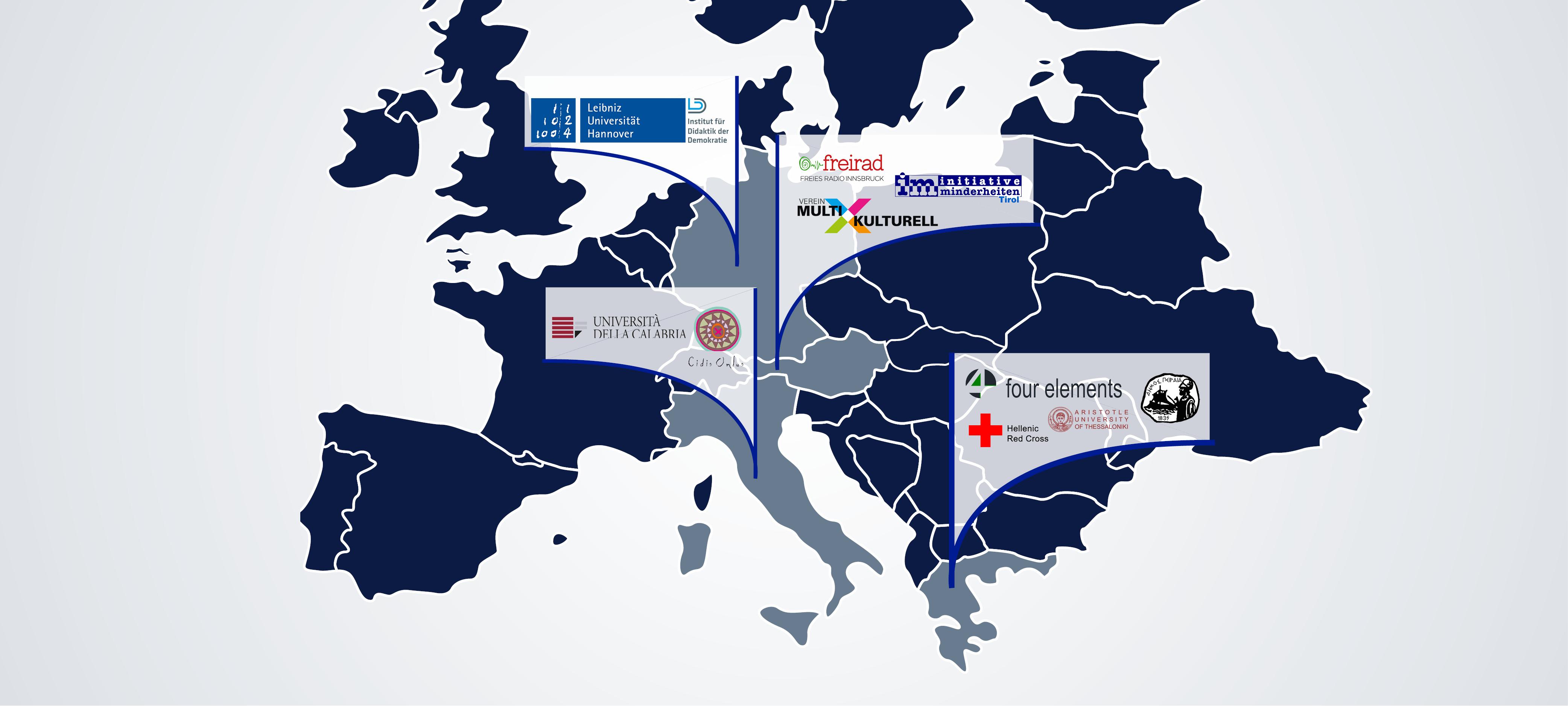 Karte von Europa mit Logos der Partnerorganisationen in ihren jeweiligen Ländern