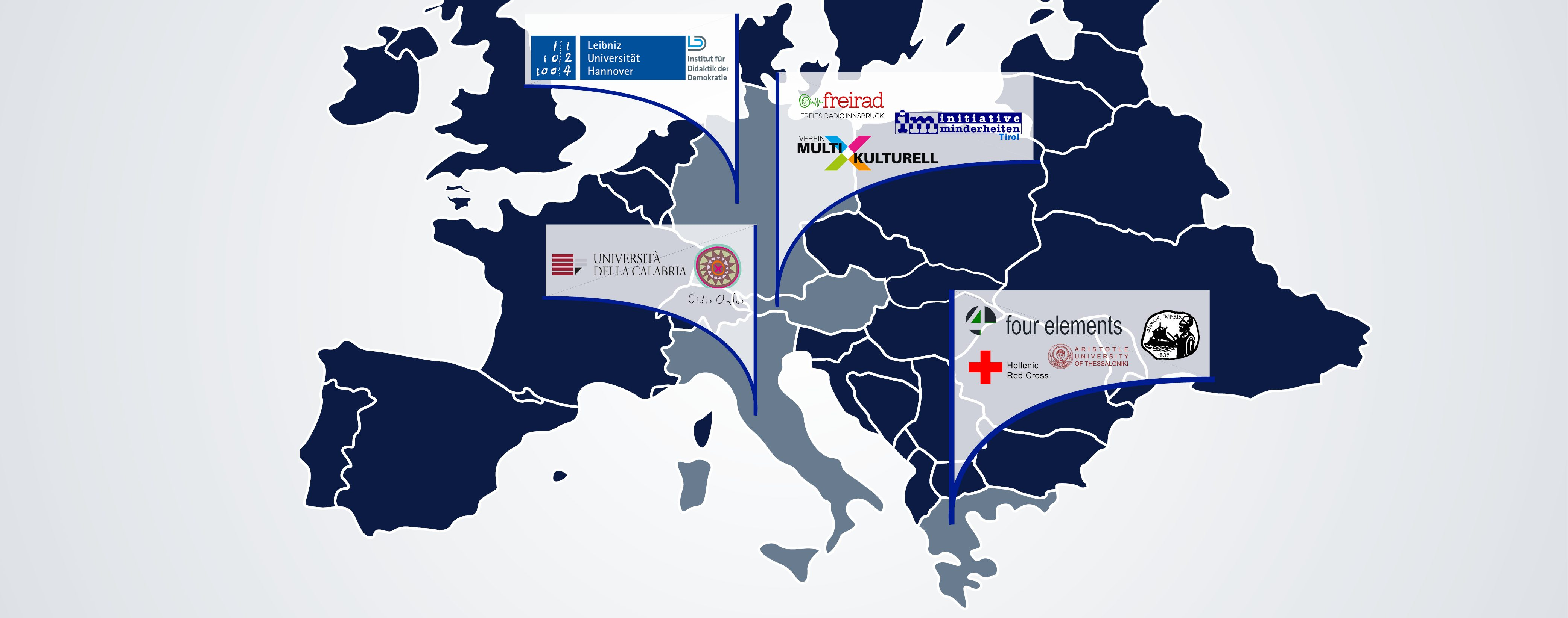 European map showing the logos of the partner organisations in their respective countries.