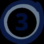 Cerchio blu con il numero tre all'interno
